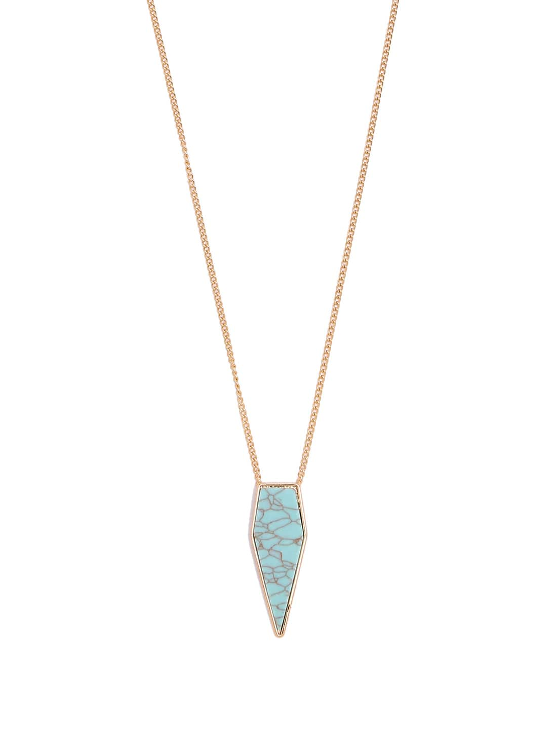 Turquoise Water-drop Pendant Golden Necklace