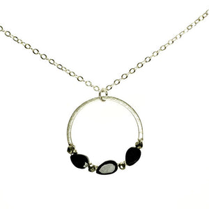 Rock-n-Roll Flat Curb Halo Spinel And Pyrite Nugget Sterling Silver Necklace
