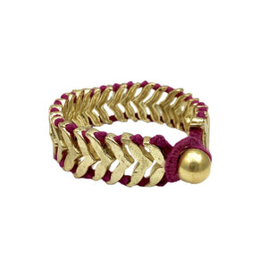 Multicolored Cotton Thread With Golden Metal Rina Temple Bracelet