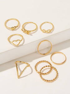 Goldn 9pack Heart & Bow Design Alloy Ring