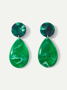 Green And Grey Water Drop Marble Pattern 1 Pair Dangle Earrings