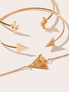 Golden 3pcs Triangle & Cactus Metal Design Cuff Bracelet