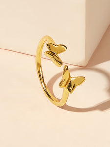 1pc Golden Butterfly Alloy Cuff Ring