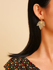 Golden Leaf Shaped Gemstone Engraved Dangle 1 Pair Earrings