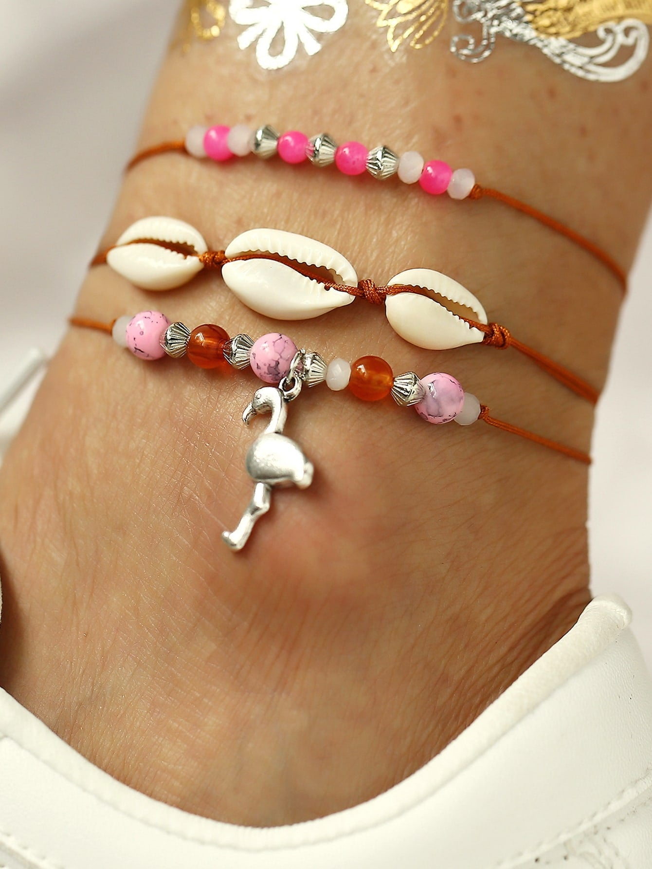 Multicolor 3pcs Shell & Bead Decor Anklet