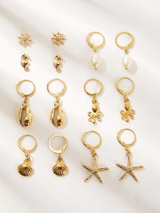 7pairs Golden Shell & Starfish Shaped Pearl Drop Earring
