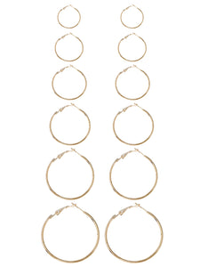 Golden And Grey Mixed Sized Design 6 Pairs Hoop Earring Set