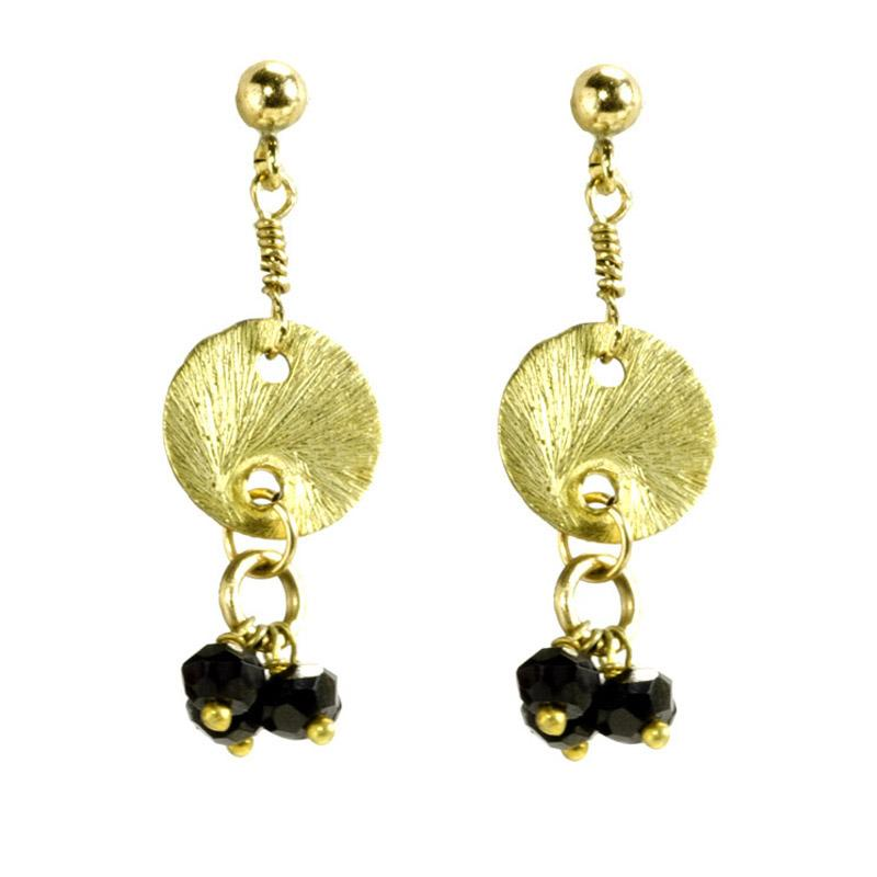 Spinel Charms With Gold Vermeil Disk Dangle Earrings