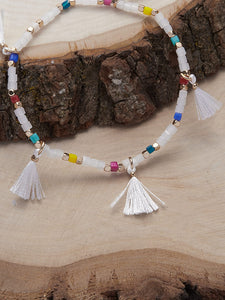 Multicolored Beaded Fringe Detail Elastic Bracelet