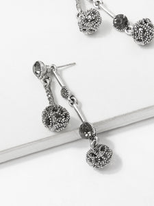 Grey Bar & Ball Detail Dangle Earrings