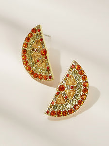 Multicolored Half Round Rhinestone Engraved 1pair Stud Earrings