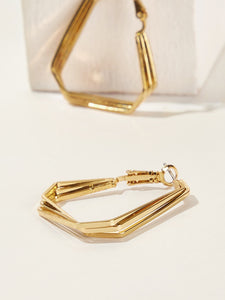 Golden 1pair Multi Layered Metal Geometric Hoop Earrings