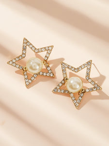 Golden Faux Pearl Decor 1pair Star Shaped Stud Dangle Earrings With Gemstone