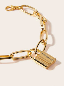 Golden 1pc Lock Charm Adjustable Link Chain Bracelet
