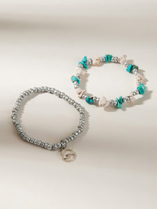 Multicolored Shell Decor Beaded Grey Ring 2pcs Charm Anklet