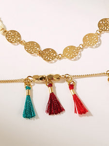Multicolor 2pcs Tassel & Hollow Disc Decor Anklet