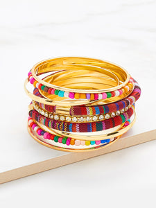 Multicolored Rhinestone & Beaded Bangle Bracelet Set