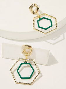 Green And Green Abstract Double Polygon Shaped Open 1 Pair Hoop Earring