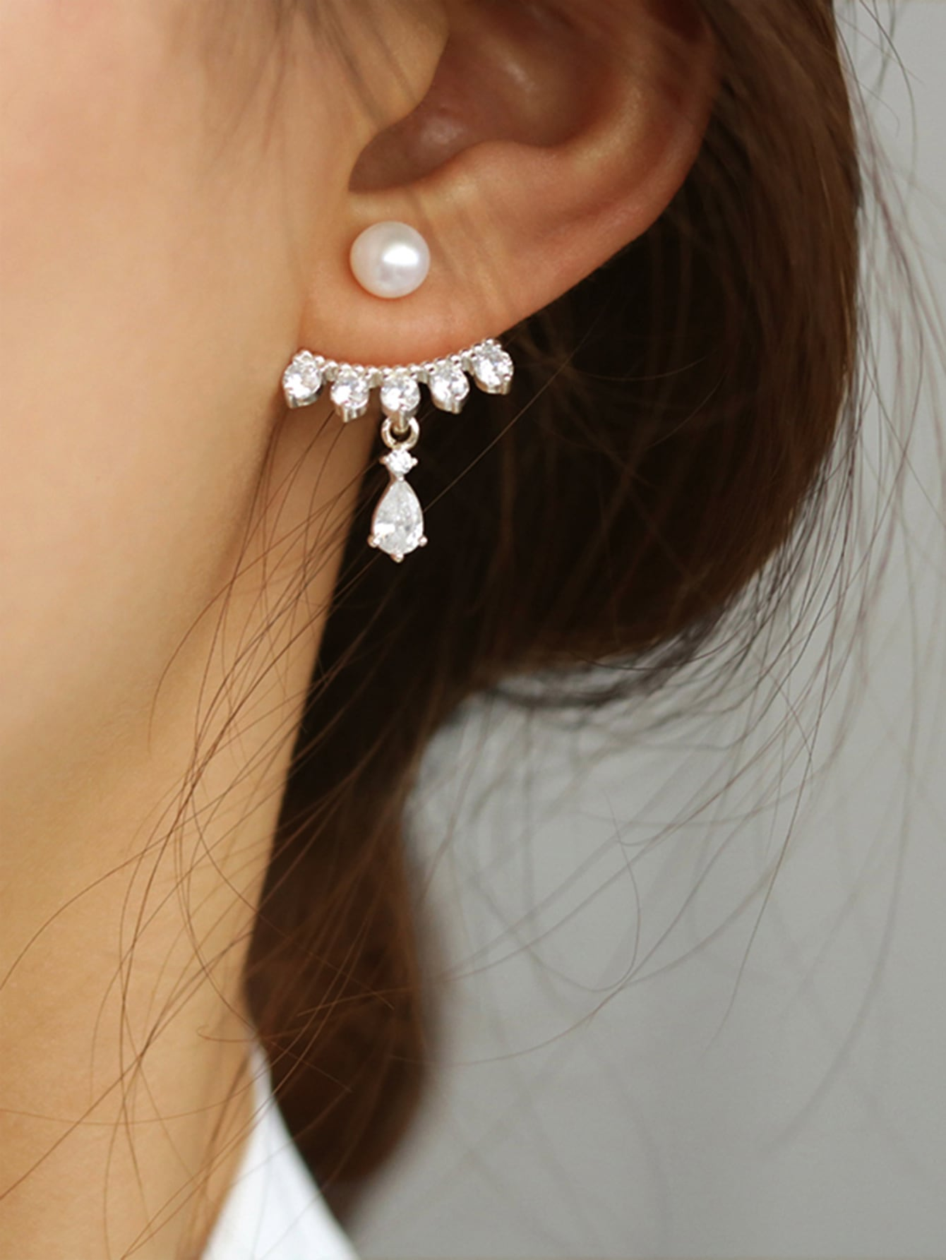 Silver Rhinestone Decor With Pearls 1 Pair Back Stud Earrings