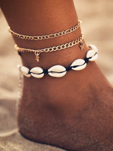 Load image into Gallery viewer, 3pcs Golden Chain And Shell & Star Decor Anklet
