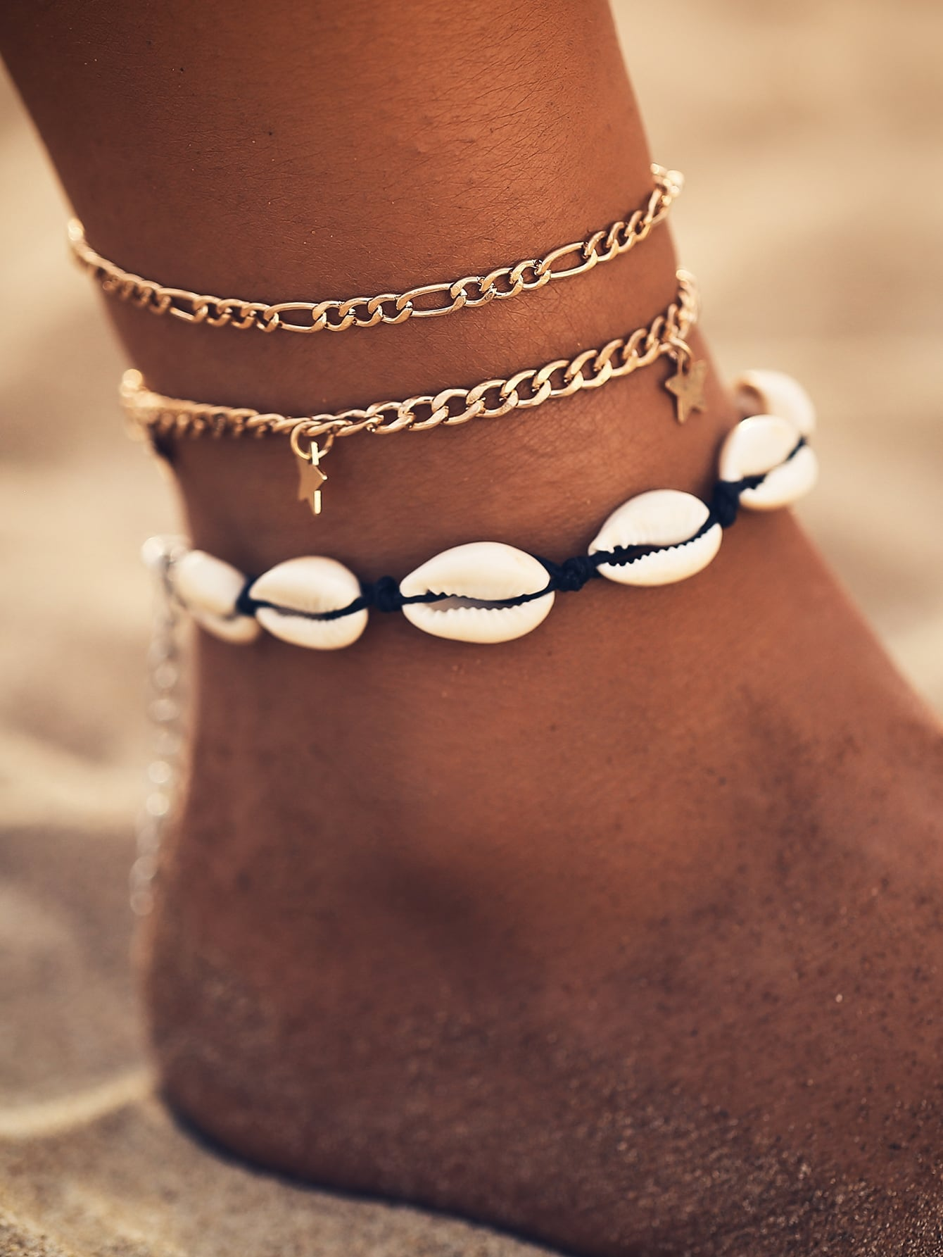 3pcs Golden Chain And Shell & Star Decor Anklet