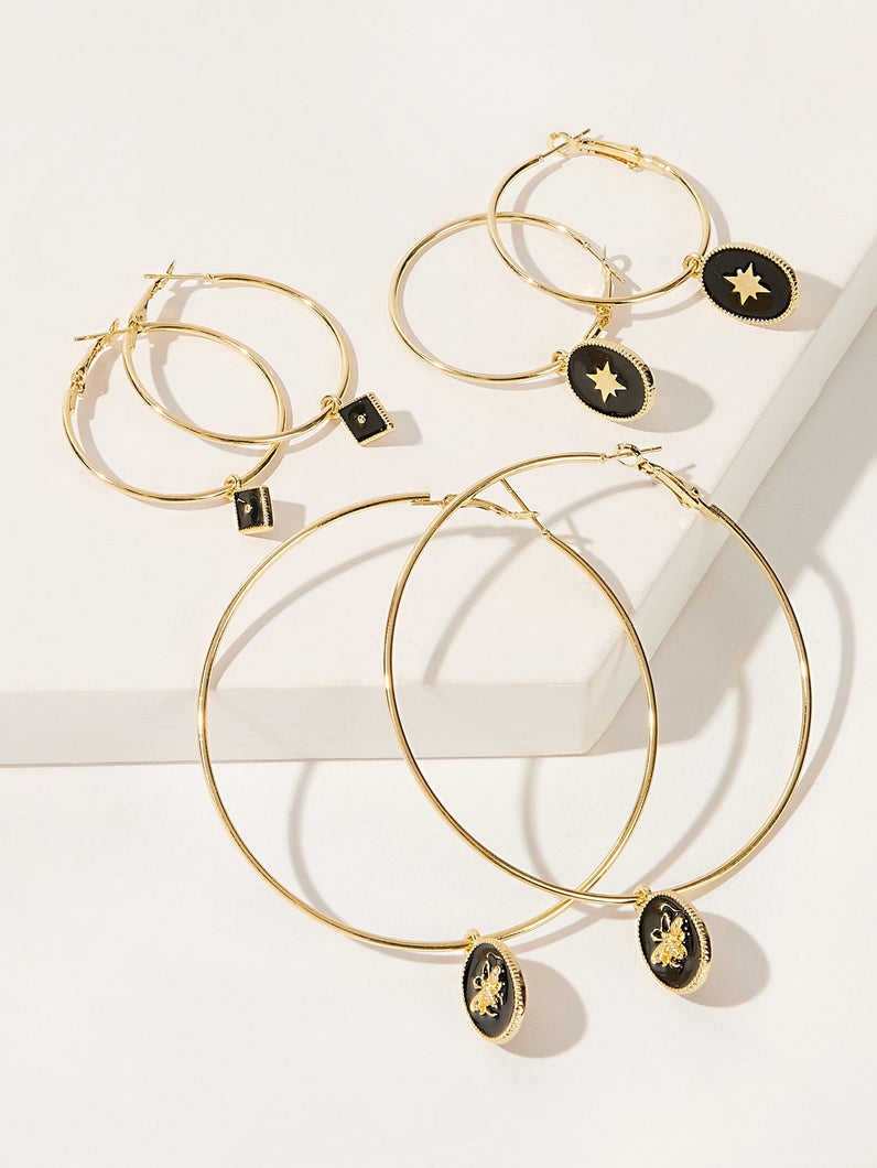 Golden And Black Oversize Bee Charm Hoop 3 Pairs Earring