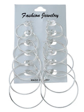 Load image into Gallery viewer, Golden And Grey Mixed Sized Design 6 Pairs Hoop Earring Set