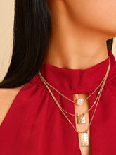 Load image into Gallery viewer, Golden Rectangle Charm Layered Chain With Faux Pearl 1pc Necklace