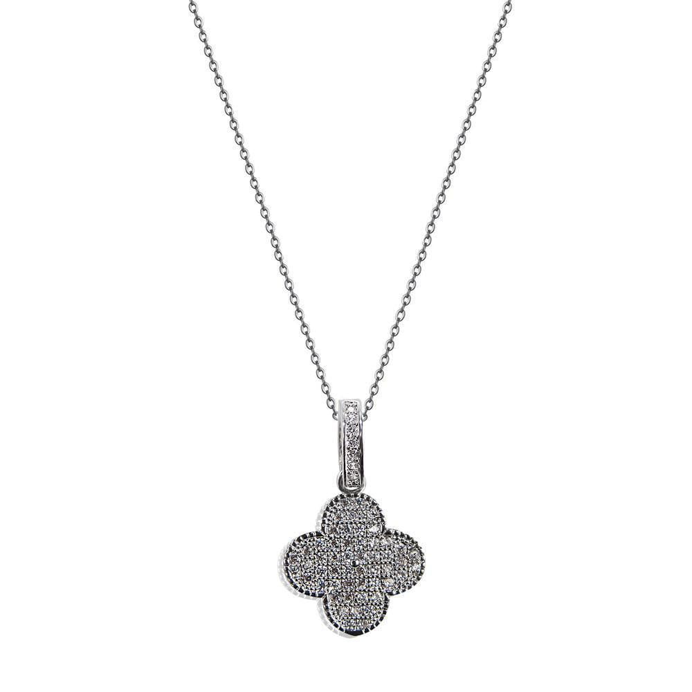 Sparkling Zirconia Pave Faith Stainless Steel Pendent Necklace