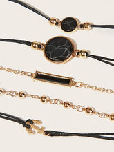 Load image into Gallery viewer, Black And Golden Bar & Anchor Bracelet Set 5pcs