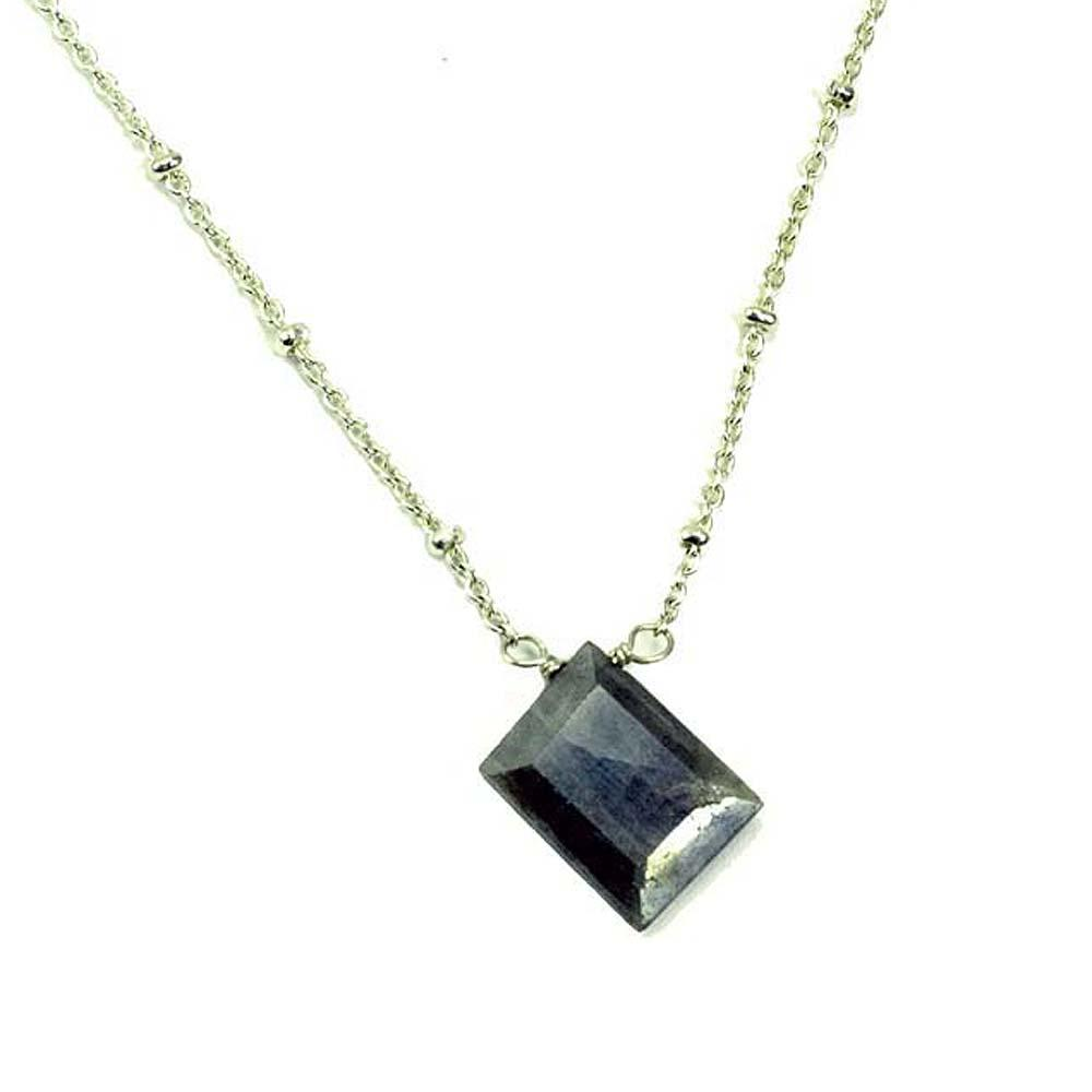 Sterling Silver Chain With Labradorite Slab Rock Candy Necklace