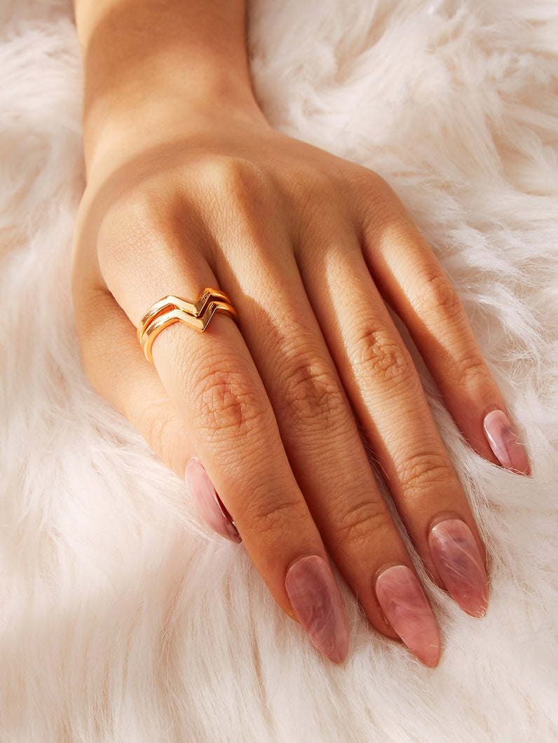 2pcs Golden V-shaped Ring