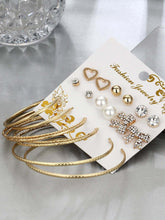 Load image into Gallery viewer, 9pairs Golden Bow & Hoop Design Stud Earring Set