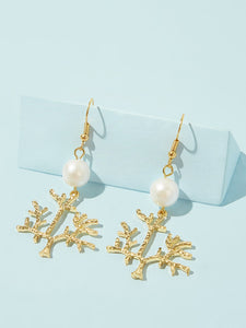 Golden Faux Pearl Decor 1pair Leaf Branch Shaped Drop Dangle Earrings