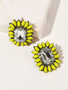 Yellow Trim With Crystal Rhinestone 1 Pair Stud Earrings