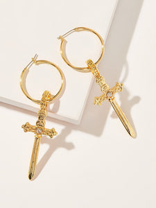 Golden 1pair Rhinestone Detail Cross Decor Metal Hoop Drop Dangle Earrings