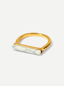 Multicolor 1pc Marble Pattern Metallic Bar Ring