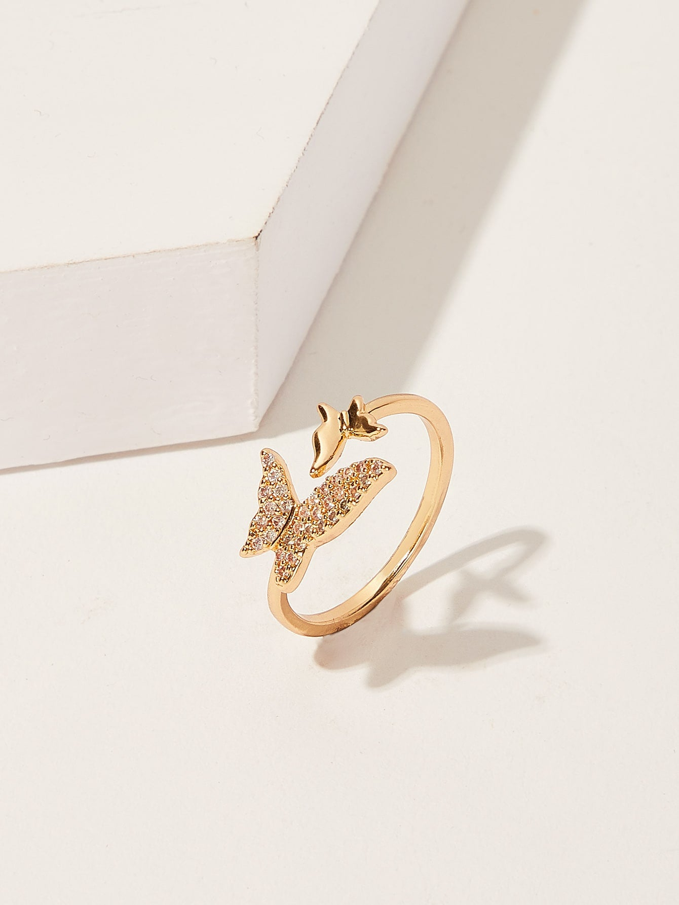 Golden Butterfly Cuff Rhinestone 1pc Ring