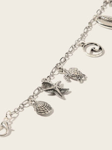 1pc Grey Shell & Tortoise Charm Chain Bracelet
