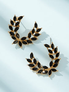 Black Gemstone Engraved Golden Leaf Shaped Cuff 1 Pair Hoop Earring