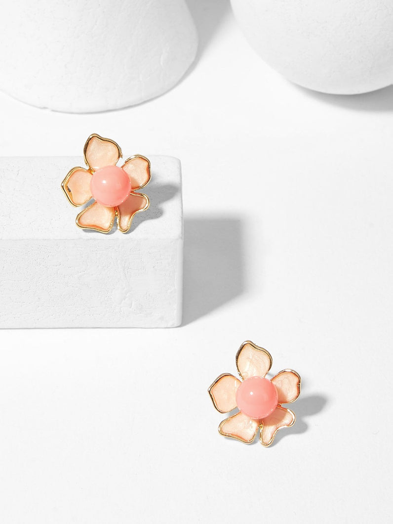 Pink Flower Shaped 1pair Gold Stud Earrings