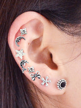 Load image into Gallery viewer, Ethnic Grey Multi-Element Stud 8pcs Earrings Set