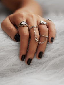 Grey 4pcs Moon Design Silver Metal Ring Set