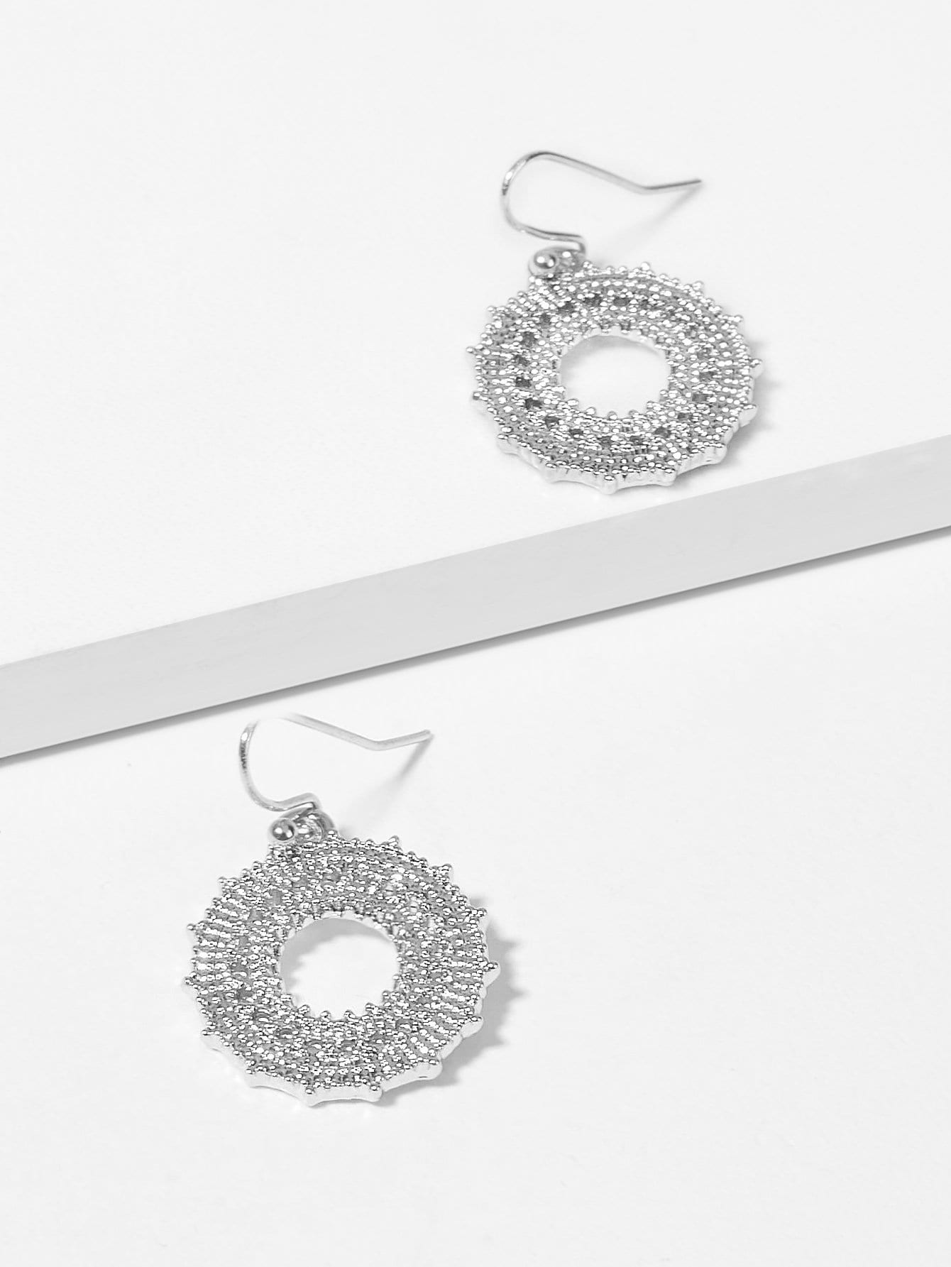Grey Open Round Textured 1 Pair Dangle Earrings