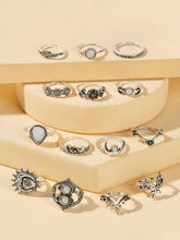 Load image into Gallery viewer, Grey 14pcs Leaf & Moon Decor Silver Metal Ring