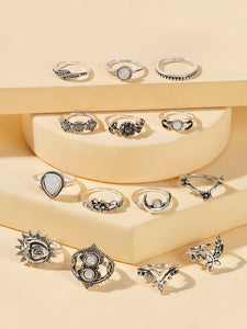 Grey 14pcs Leaf & Moon Decor Silver Metal Ring