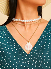Load image into Gallery viewer, 1pc Golden And White Beaded Double Layered Shell Charm Chain Necklace