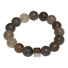 Load image into Gallery viewer, Semi Precious Grey Agate Hematite Cube Bracelet
