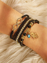 Load image into Gallery viewer, 6pcs Black Hand & Infinity Gemstone Gold Beaded Bracelet