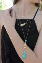 Load image into Gallery viewer, Tess Gold Filigree And Turquoise Magnesite Beads Necklace